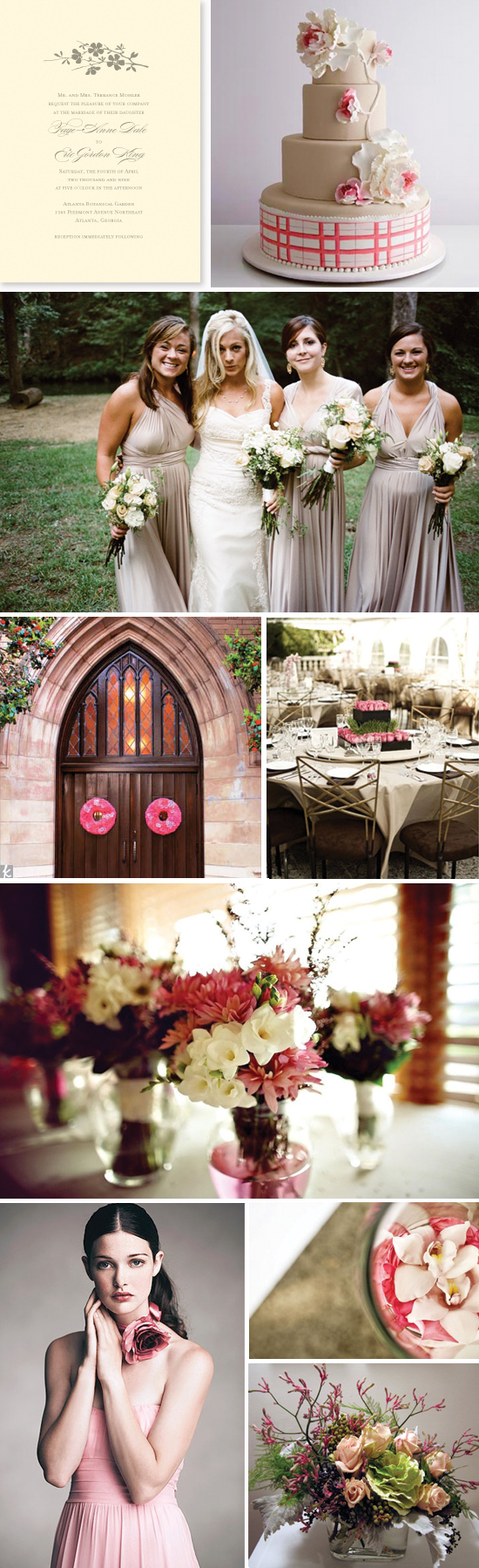 Wedding Inspiration Board - pink and taupe