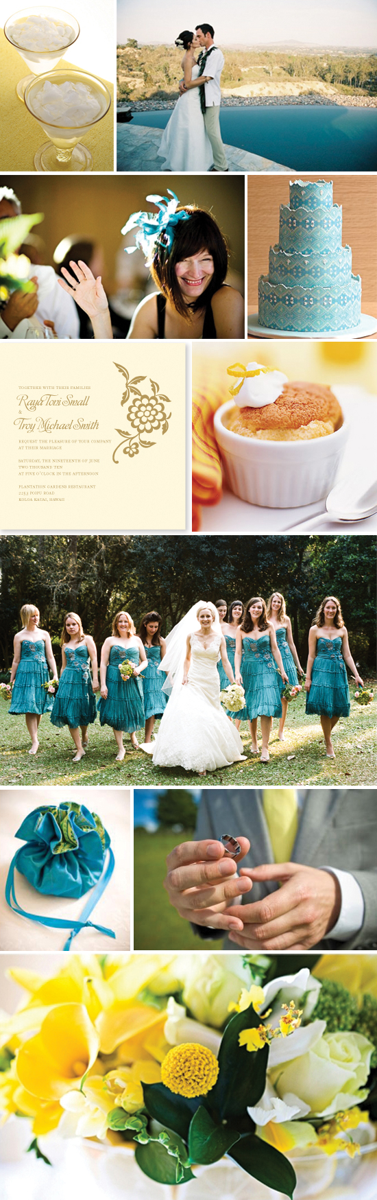 wedding inspiration board - turquoise and yellow