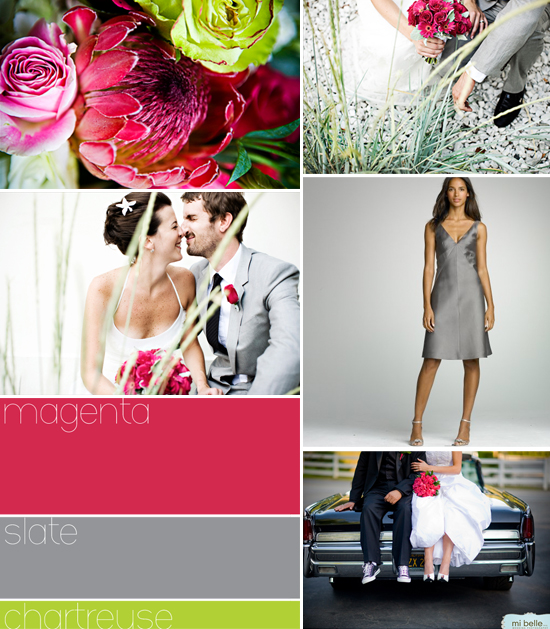 wedding color palette: magenta-slate-chartreuse