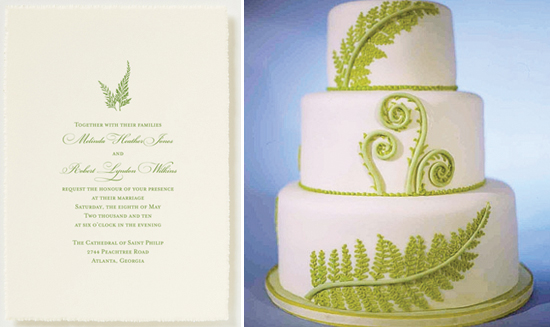 fern design on wedding invitation and cake
