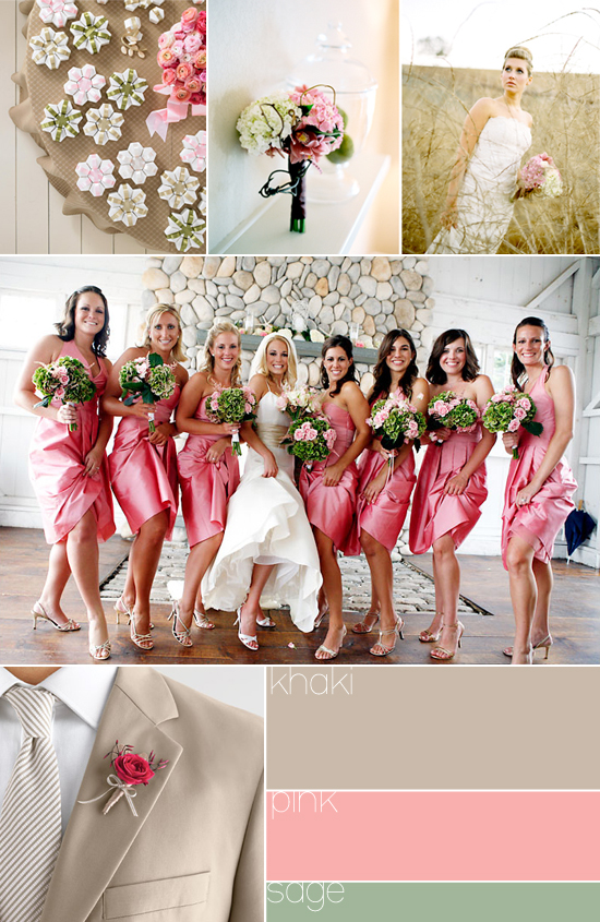 wedding color palette - khaki, pink and sage