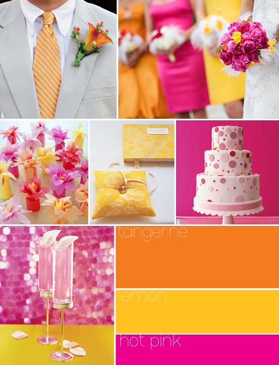wedding color palette - orange, yellow, pink