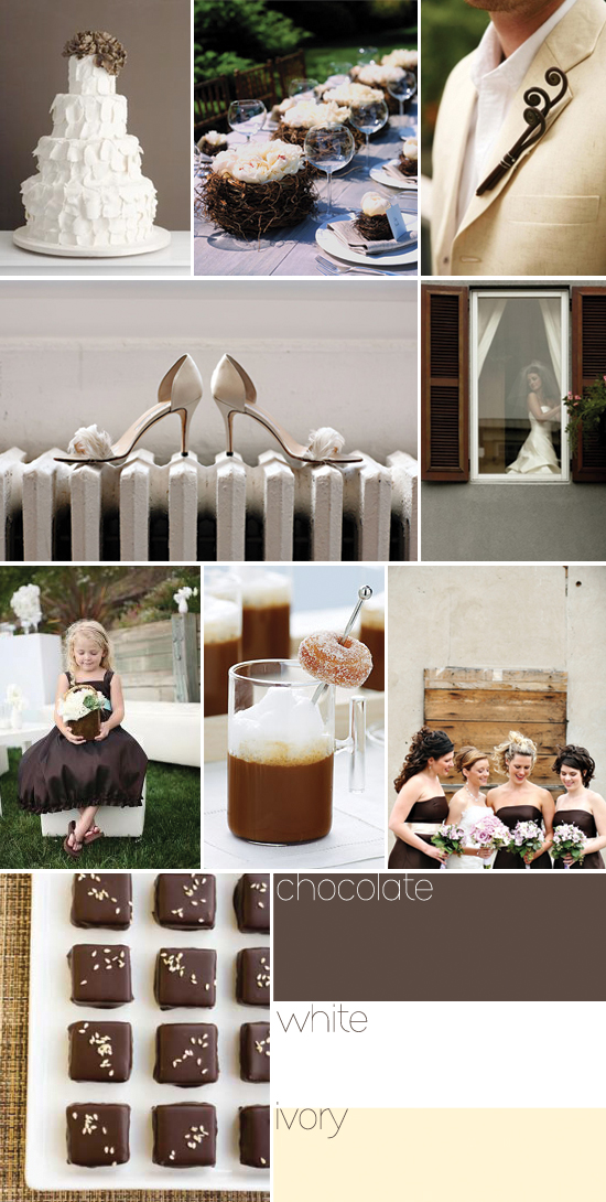 wedding color palette - ivory, white and chocolate brown