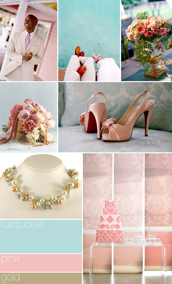 wedding color palette: turquoise, pink and gold