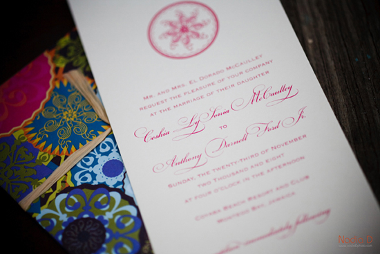 Destination wedding in Jamaica, invitations by betsywhite.com. Ceshia and Anthony