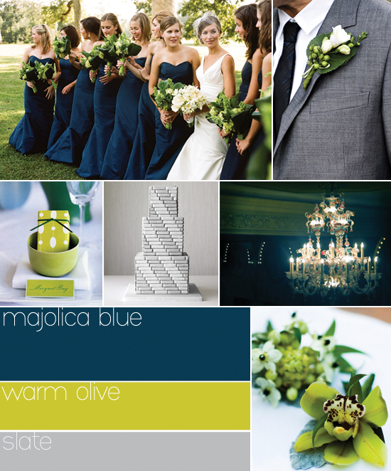 Fall 2009 wedding colors: navy, green and grey