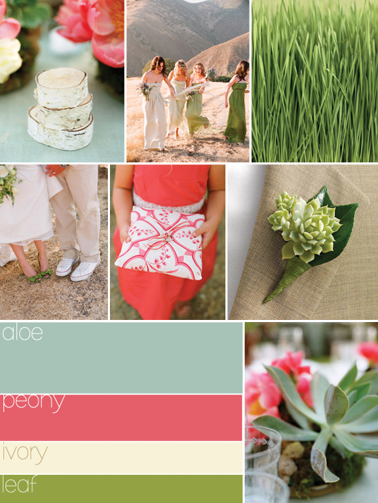 wedding colors: green, pink and ivory