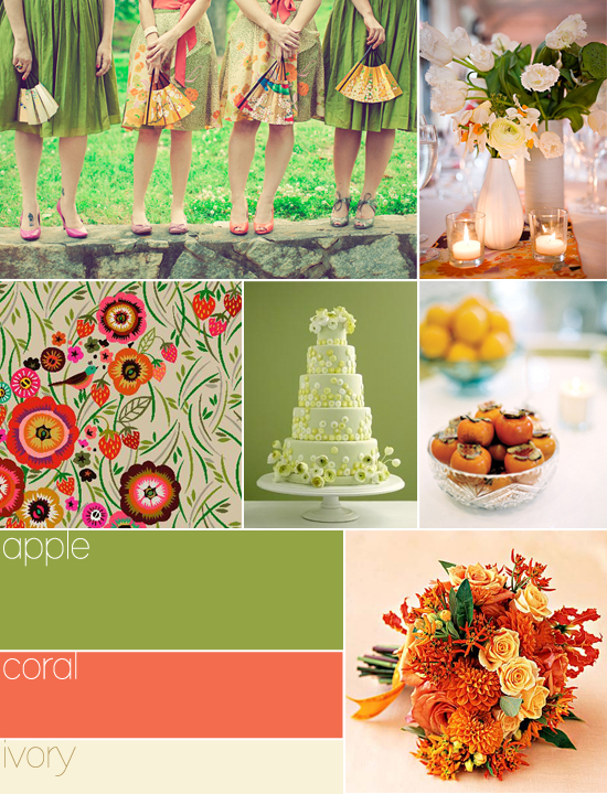 wedding colors: apple, coral, ivory