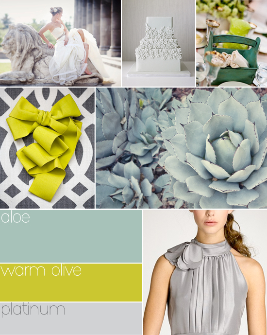 wedding colors: aloe, warm olive and platinum