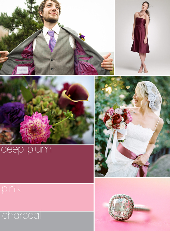 wedding palette: deep plum, pink and charcoal
