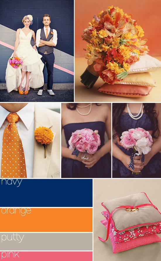 wedding color palette: navy, orange and pink