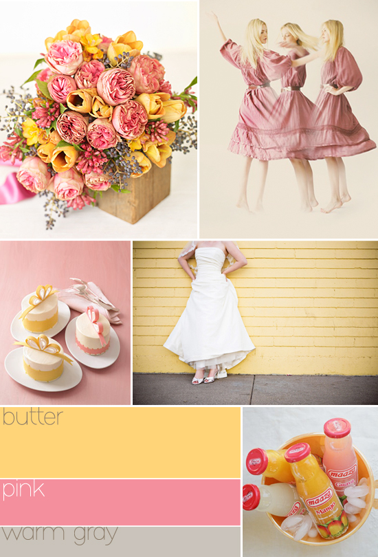 pastel wedding colors: butter, pink, warm gray
