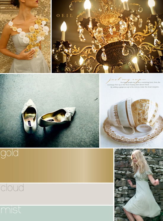 wedding colors: gold, blue and grey