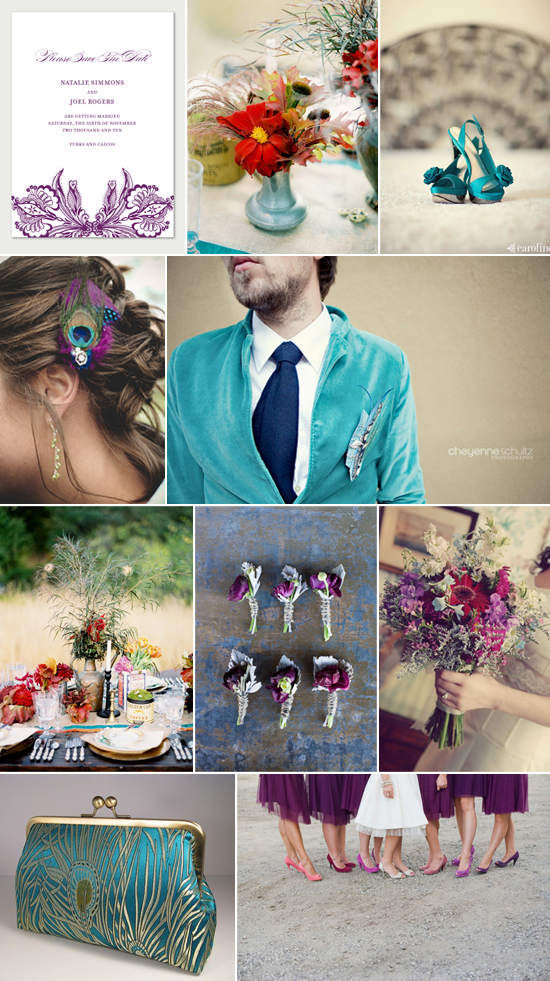 wedding inspiration - peacock feathers