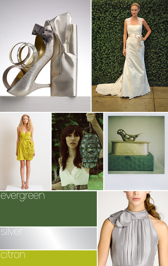 wedding colors - evergreen, silver, citron