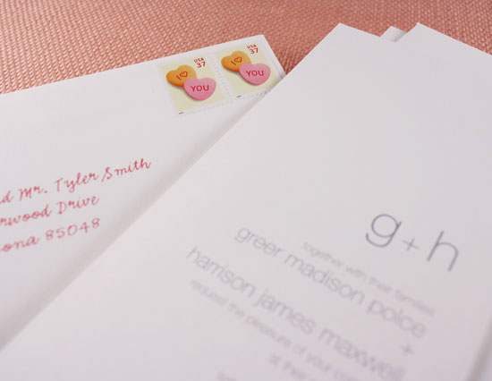 postage stamps for a modern wedding
