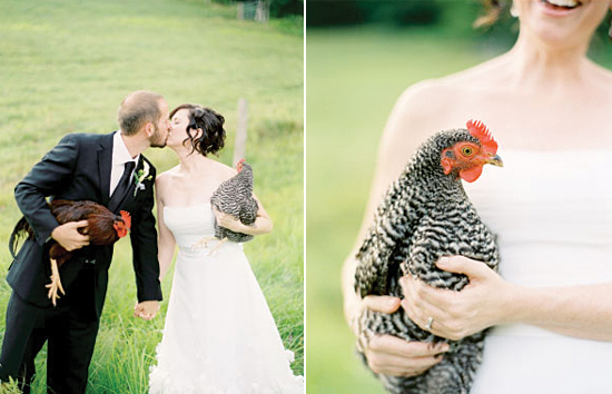 rustic wedding portraits with chicken