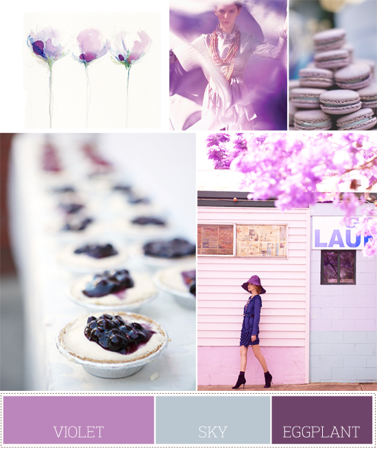 spring wedding palette: violet, sky blue and eggplant