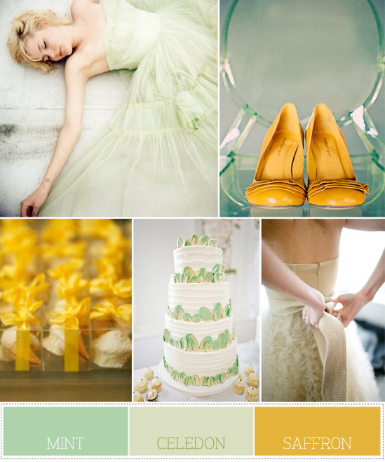 wedding palette: pale greens and punchy yellow