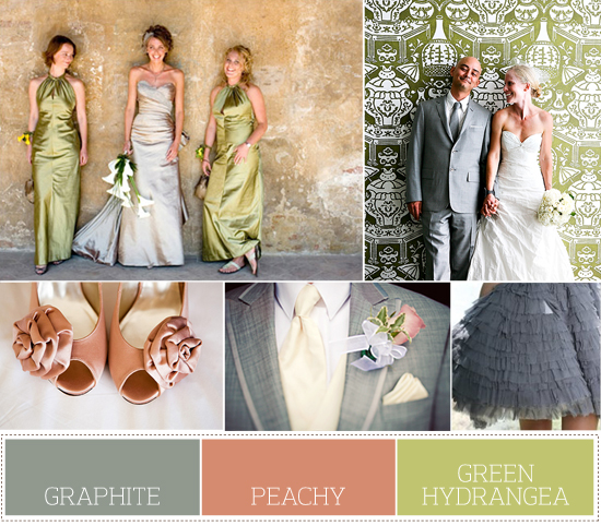 Spring wedding palette: green, peach and gray