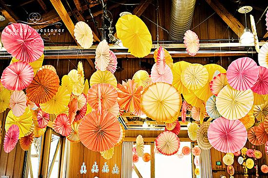 paper rosettes, paper pinwheels