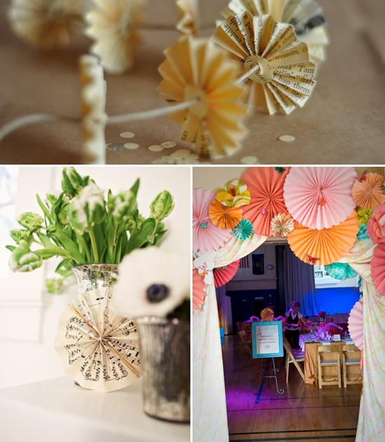 wedding decor: paper rosettes and pinwheels