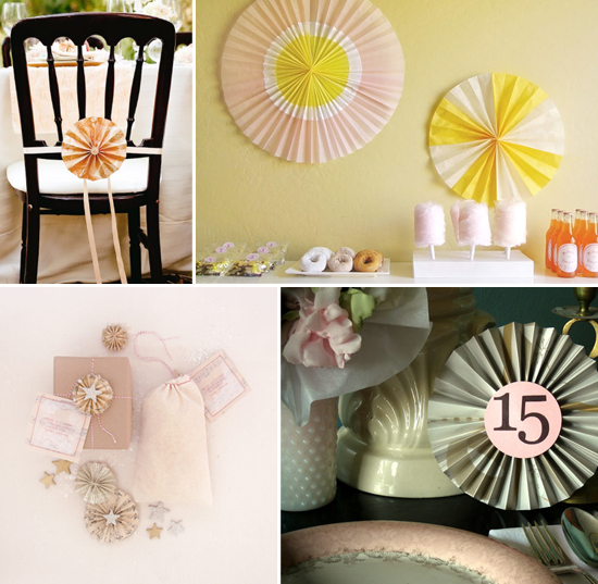 wedding and party decor: rosettes