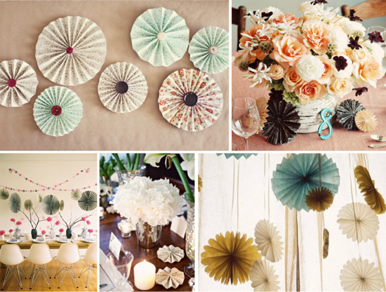 paper rosettes; paper pinwheels