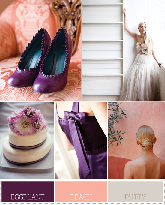 color palette: eggplant, peach and putty