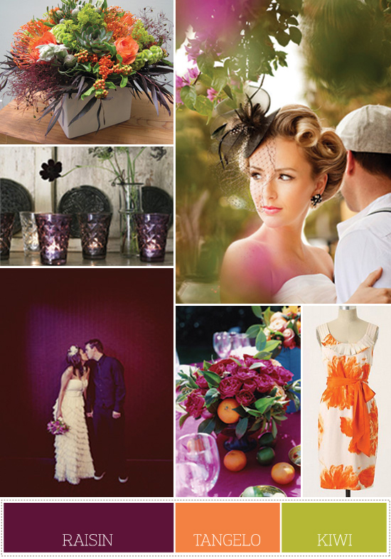 wedding colors: purple, orange and green