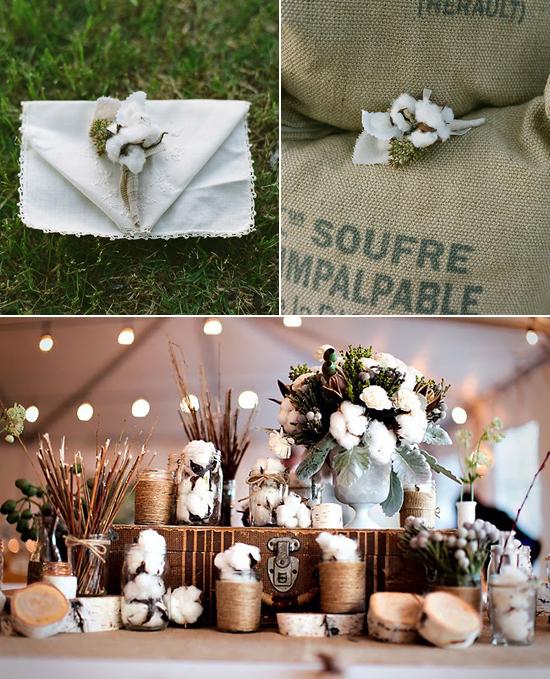 cotton bolls as wedding decor