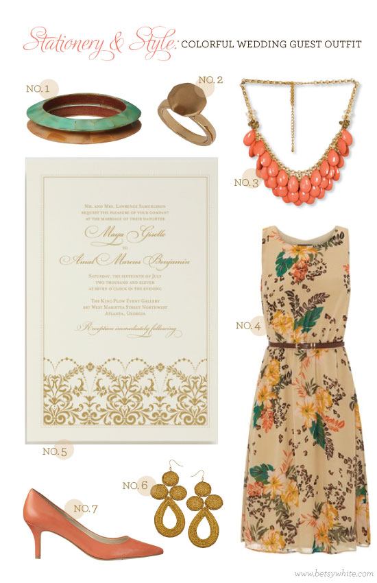 Stationery & Style: Colorful Wedding Guest Outfit