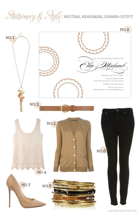 Stationery & Style: Neutral Rehearsal Dinner Outfit