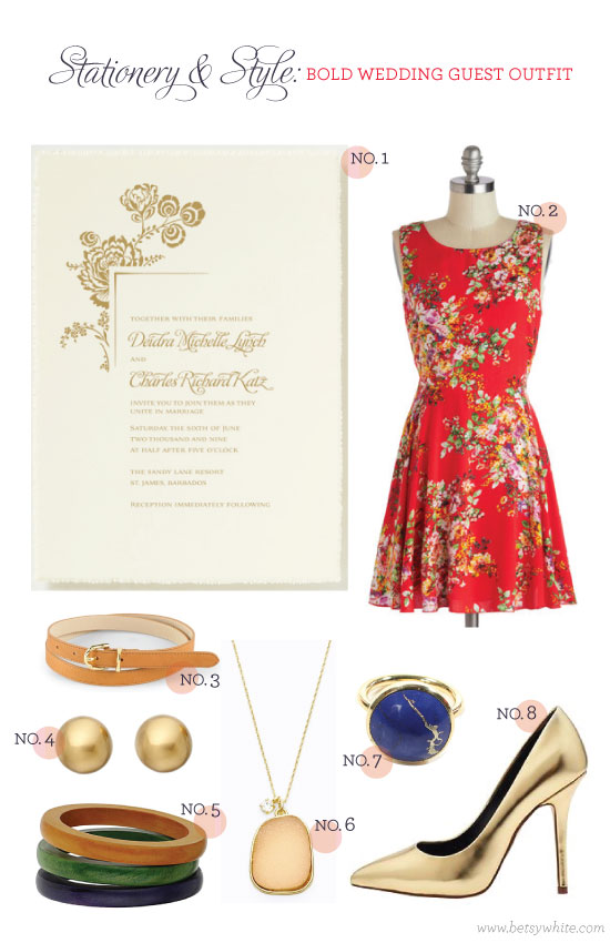 Stationery & Style: Bold Wedding Guest Outfit