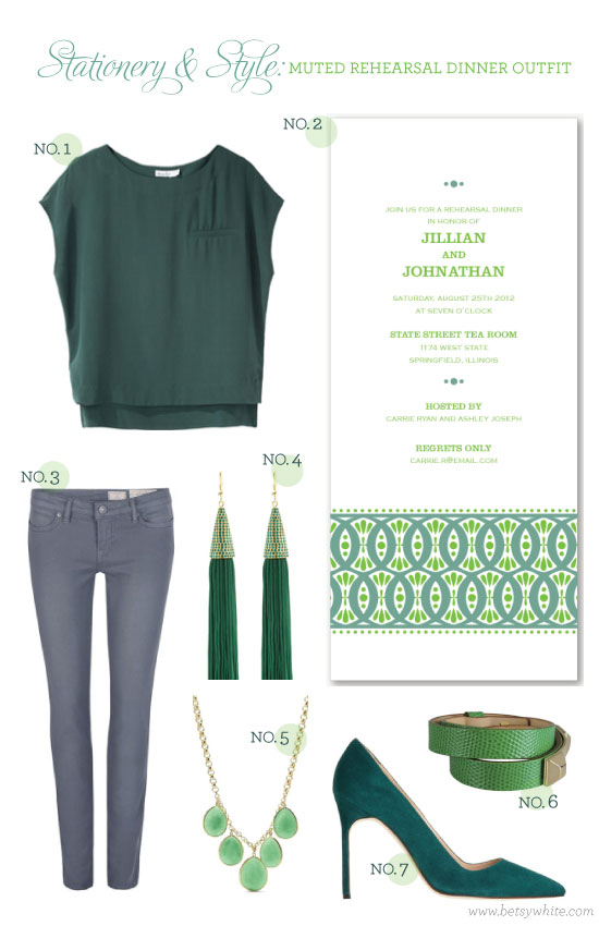 Stationery & Style: Muted Rehearsal Dinner Outfit