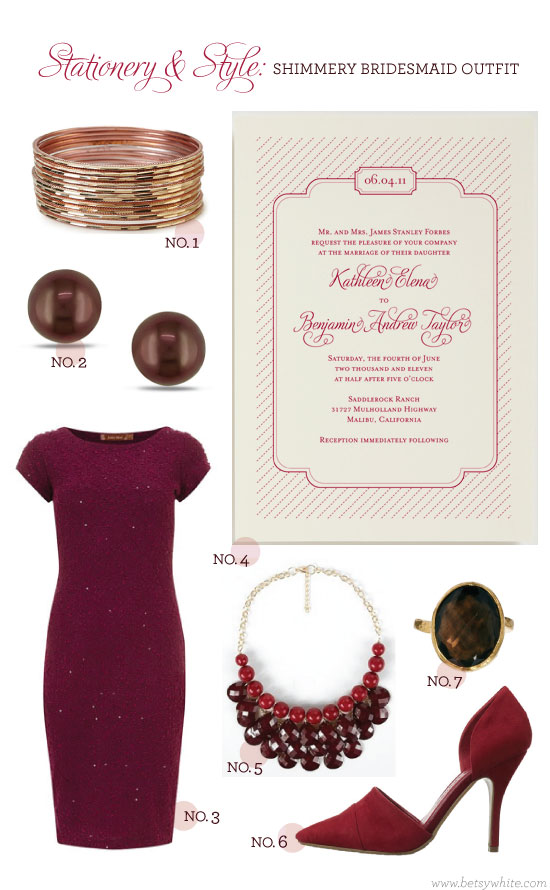 Stationery & Style: Shimmery Bridesmaid Outfit