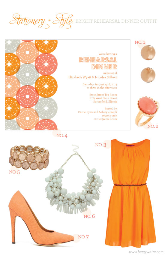 Stationery + Style: Bright Rehearsal Dinner Outfit