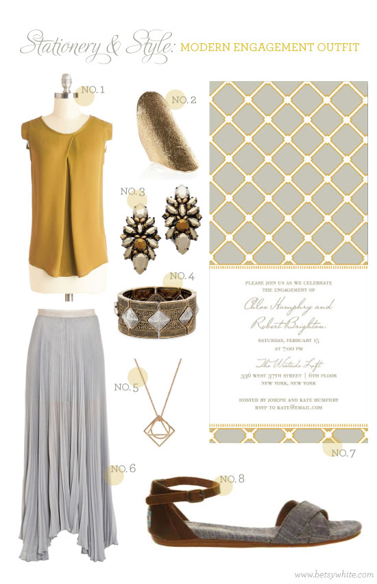 Stationery & Style: Modern Engagement Outfit