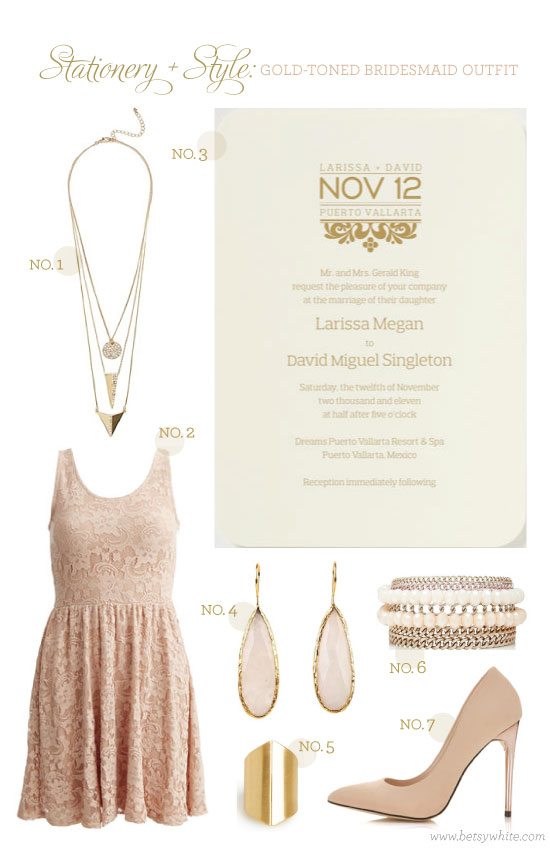 Stationery + Style: Gold-toned Bridesmaid Outfit