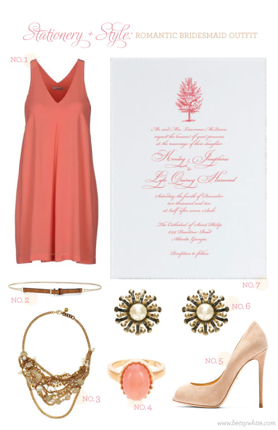 Stationery + Style: Romantic Bridesmaid Outfit