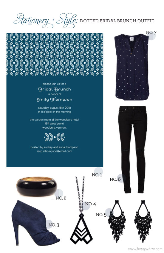 Stationery + Style: Dotted Bridal Brunch Outfit
