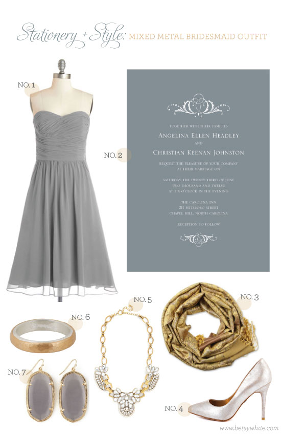 Stationery + Style: Mixed Metal Bridesmaid Outfit