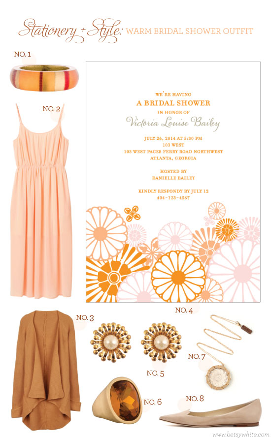 Stationery + Style: Warm Bridal Shower Outfit